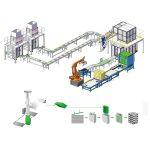Línea de producción de envases secundarios de paletización.